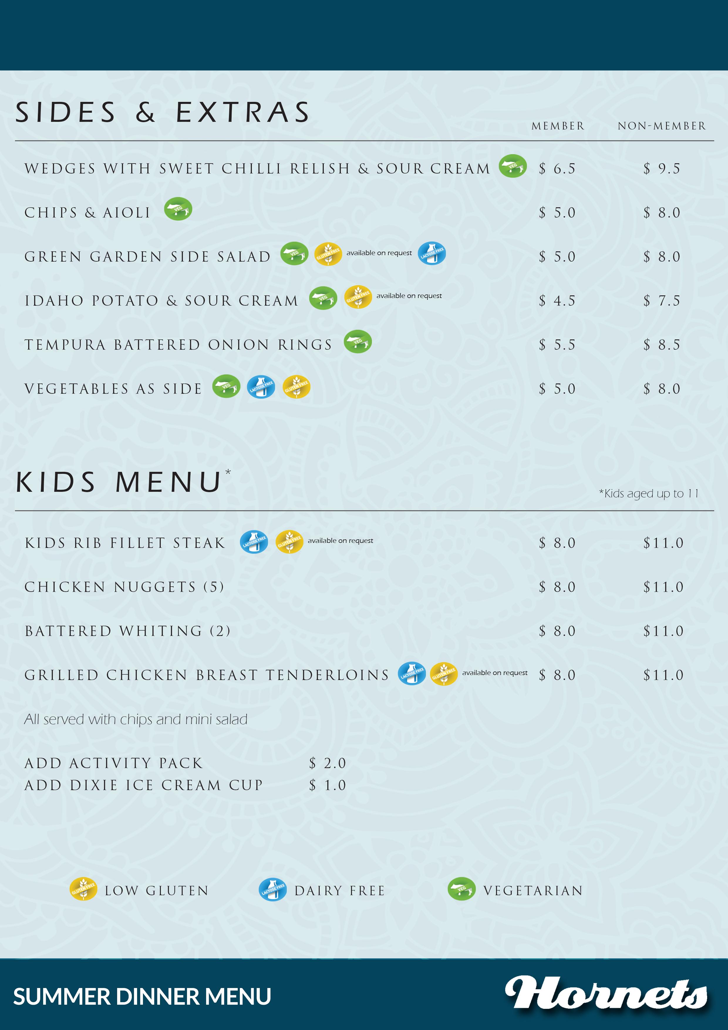 Dinner Menu December 2016 - Sides & kids